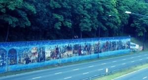 Al. Powstańców Śląskich. Silva Rerum, 2007, Jerzy Rojkowski, Zooteka. Na 750-lecie lokacji Krakowa. Podobno największy mural w Europie.