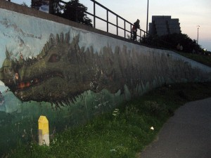 """Bulwar Wołyński. Smok Wawelski, 2008, Jerzy """"Impas"""" Rojkowski, Konrad """"Mehes"""" Kowal, UMK, Zooteka, Pliva."""