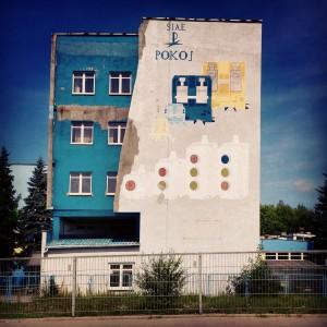 ul. Aleksandrowska, mural komercyjny z lat PRL-u, jak przypuszczam. Ciekawie wygląda ta urwana ściana