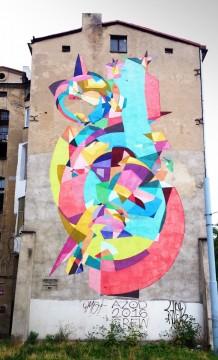 ul. Pomorska 28, Kenor (Hiszpania). Mural na jubileuszową edycję festiwalu Viva Flamenco. I dopiero gdy się tego dowiedziałem, jaśniejszy stał się sens tej mocno abstrakcyjnej formy. Teraz widać to napięcie dwojga tancerzy.