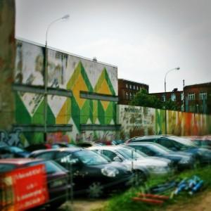 ul. Wólczańska, skrzyżowanie z projektowaną trasą W-Z. Restauracje łódzkie Społem, stary mural z PRL-u