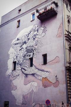 ul. Roosevelta, siedziba Domu Literatury. Gregor (Grzegorz Gonsior). Mural na Rok Tuwima.