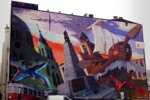 ul. Piotrkowska 152, 2001, Łódź zwycięska, Design Futura, jeden z największych murali na świecie. Ale kiepski i pompatyczny.